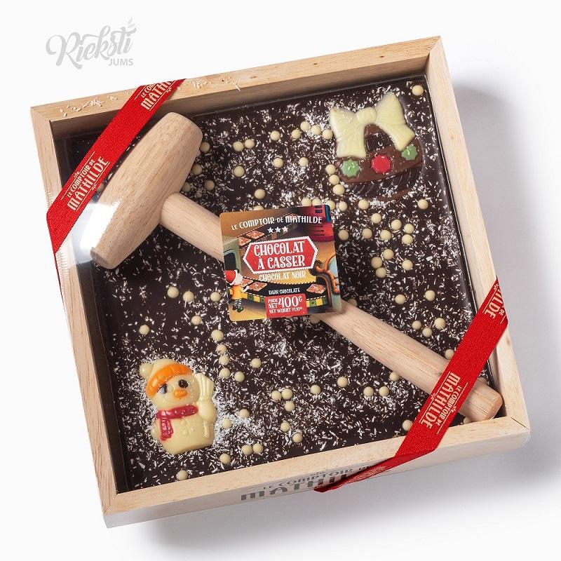 """MATHILDE tumšās šokolādes tāfelīte """"Sniegavīrs ar āmuriņu"""",  400 g"""