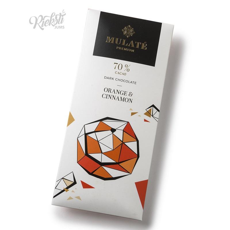 MULATE PREMIUM tumšā šokolāde ar liofilizētiem apelsīniem un kanēli, 90 g