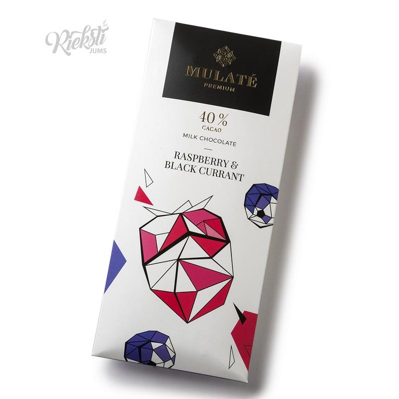 MULATE PREMIUM piena šokolāde ar liofilizētām upenēm un avenēm, 90 g