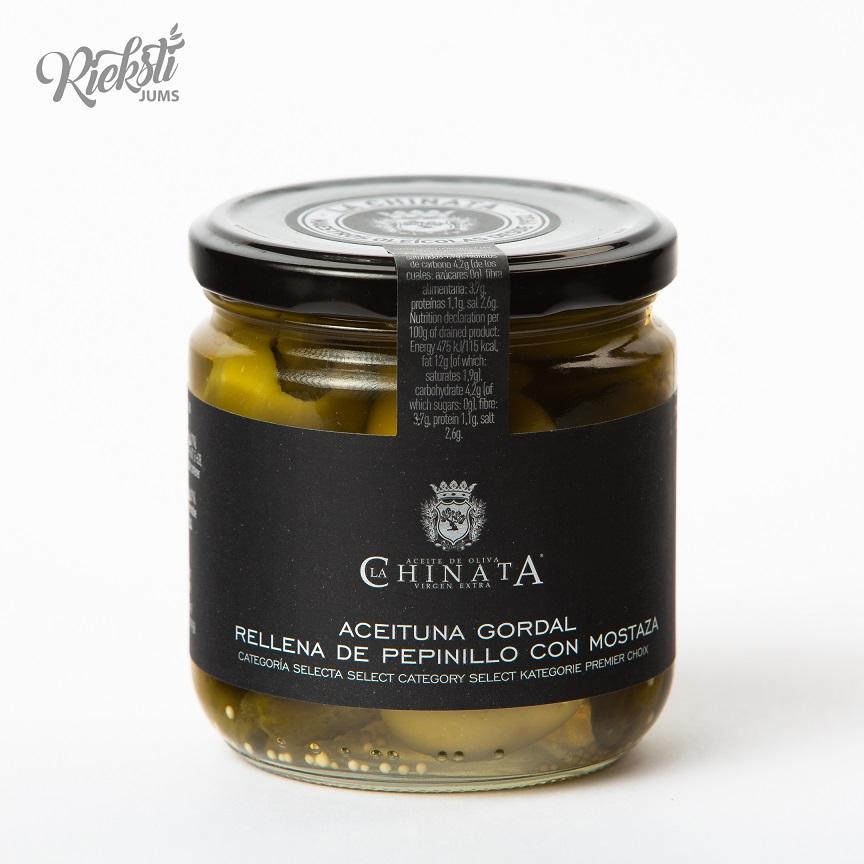LA CHINATA Gordal olīvas, pildītas ar kornišoniem un sinepēm, 340 g
