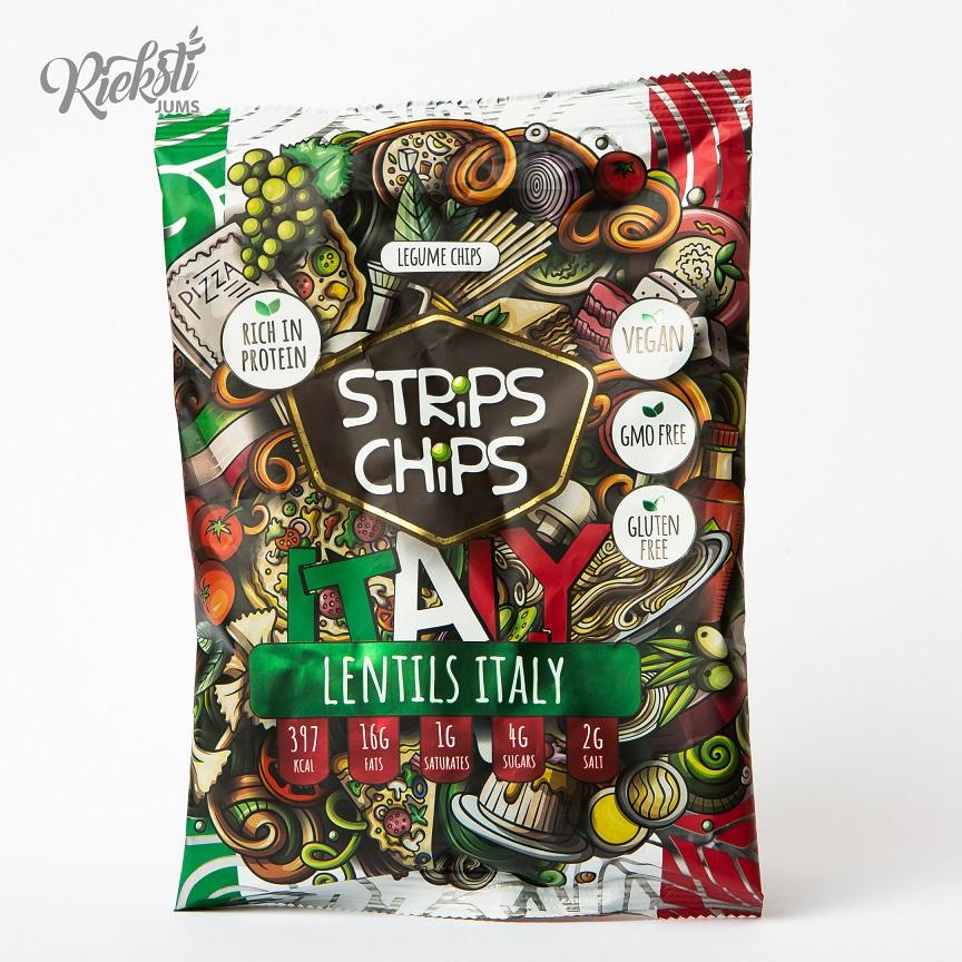 """""""Strips Chips"""" lēcu čipsi Itālija, 90 g"""